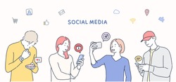 Millennials Using Social Media With Icons. Hand drawn style vector design illustrations.