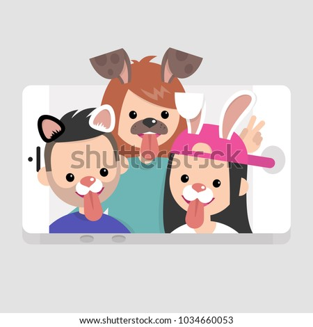 Millennials wearing animal masks. International friends having fun. Lifestyle technologies. Mobile application. Flat editable vector illustration, clip art