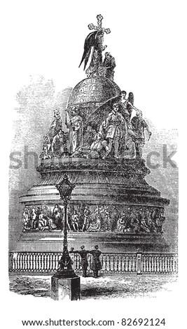 Millennium of Russia in Novgorod, Russia, vintage engraved illustration. Trousset encyclopedia (1886 - 1891).