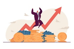 Millionaire happy about income growth. Broker celebrating stock shares climbed. Vector illustration for finance, rich banker, trading success concept