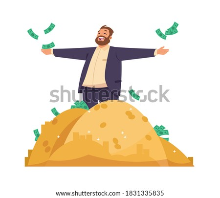 Millionaire or banker. Cartoon man scatters banknotes, rich male among piles of gold. Business success or casino lottery winning, profitable investment advertising. Vector happy gentleman with money Stock photo ©