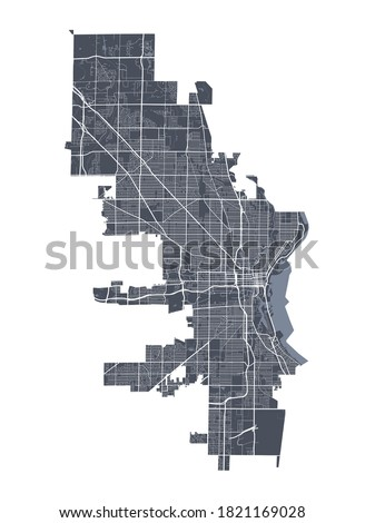 Milwaukee map. Detailed vector map of Milwaukee city administrative area. Cityscape poster metropolitan aria view. Dark land with white streets, roads and avenues. White background.