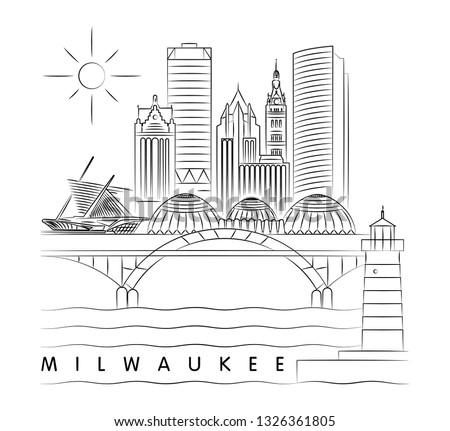 Milwaukee, Wisconsin skyline vector illustration and typography design