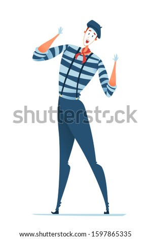 Mime in a beret and a striped suit stands with his hands up. Vector illustration of a smiling street performer.