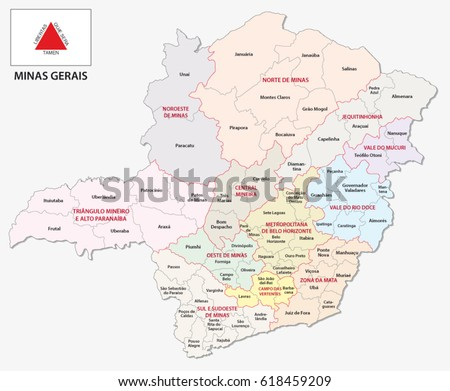 minas gerais administrative and political map with flag