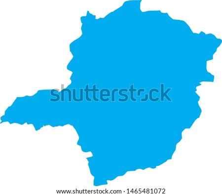 Minas Gerais state map in brazil