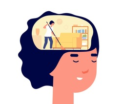 Mind cleaning. Head health, mental problems treatment metaphor. Self detox, woman caring about her brain and utter clean head inside vector concept