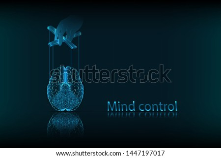 Mind control. The concept of mind control, in the form of a human brain controlled as a puppet, on a dark blue background. Vector graphics.