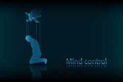 Mind control. The concept of mind control, in the form of a person controlled like a puppet, on a dark blue background. Vector graphics.