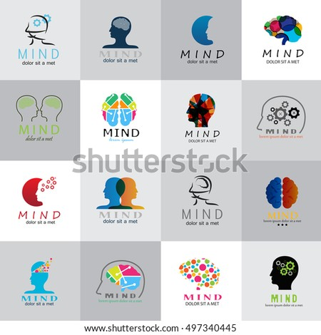 Mind Icons Set - Isolated On Mosaic Background - Vector Illustration, Graphic Design. For Web, Websites, Print, Presentation Templates, Mobile Applications And Promotional Materials