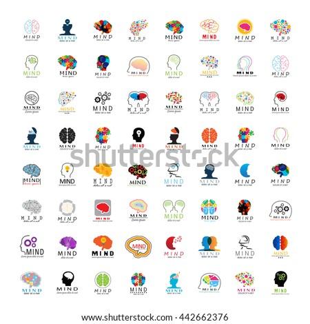 Mind Icons Set - Isolated On White Background - Vector Illustration, Graphic Design.