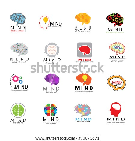 Mind Icons Set - Isolated On White Background - Vector Illustration, Graphic Design. For Web, Websites, Print, App, Presentation Templates, Mobile Applications And Promotional Materials. Logotype Set
