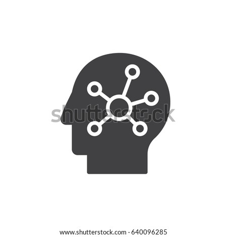 Mind map in a head icon vector, filled flat sign, solid pictogram isolated on white. Symbol, logo illustration. Pixel perfect