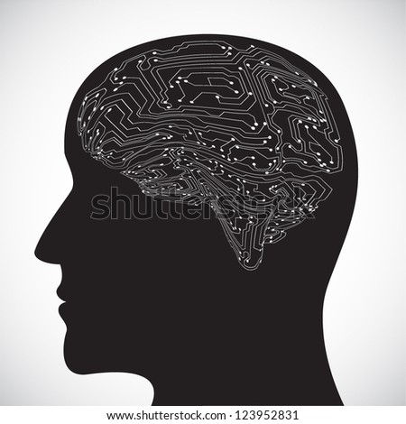 Mind profile. Microchip brain. EPS10 vector