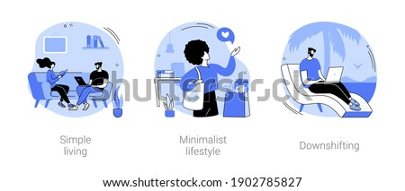 Mindful lifestyle abstract concept vector illustration set. Simple living, minimalist lifestyle, downshifting, slow living, reduced consumption, find balance, no stress life, escape abstract metaphor. Сток-фото ©