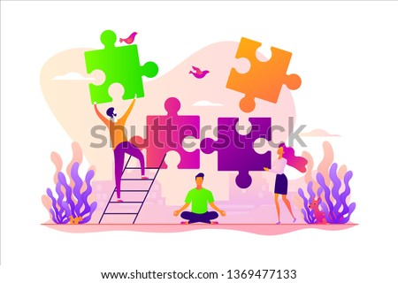 Mindful meditating, mental calmness and self-consciousness, focusing and releasing stress concept. Vector isolated concept illustration with tiny people and floral elements. Hero image for website.
