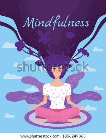 Mindfullness yoga meditation woman sit in the lotus position meditate. Mental calmness and self consciousness concept. Vector illustration isolated ストックフォト ©