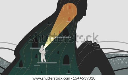 Mindfulness and self analysis flat vector illustration. Woman with flashlight searching spirit depth cartoon character. Positive psychology and self awareness. Psychoanalysis, psychotherapy concept.