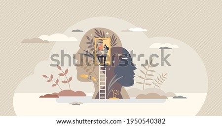 Mindfulness as mental mind peace, balance and wellness tiny person concept. Consciousness practice and moment appreciation vector illustration. Yoga and meditation as psychological body treatment.