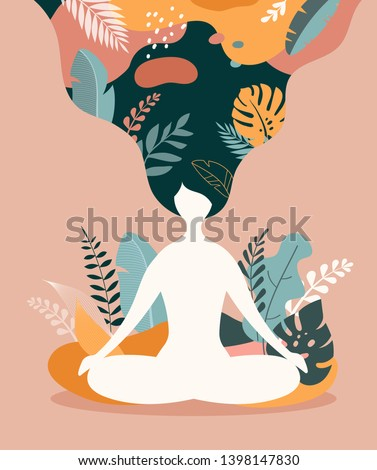 Mindfulness, meditation and yoga background in pastel vintage colors with women sit with crossed legs and meditate. Vector illustration  Photo stock ©