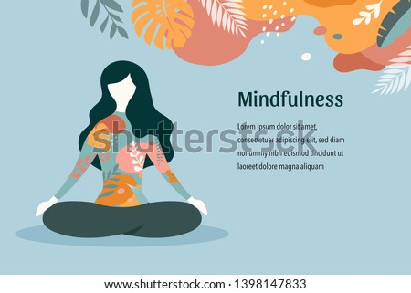 Stock Photo Mindfulness, meditation and yoga background in pastel vintage colors with women sit with crossed legs and meditate. Vector illustration