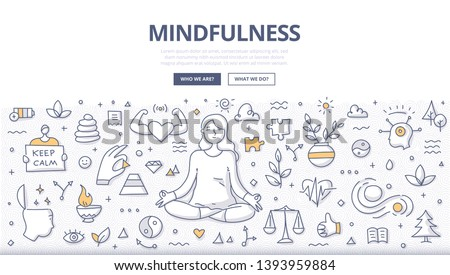 Mindfulness & meditation concept. Woman meditates relaxing in lotus pose. Self-awareness, emotional balance & freedom from stress. Doodle illustration for web banners, hero images, printed materials