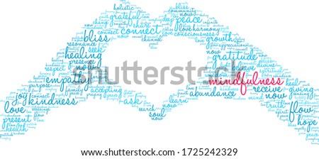 mindfulness word cloud on a