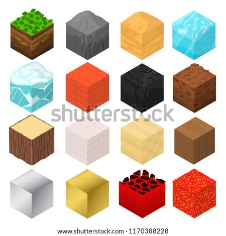 mine cubes signs 3d icon set