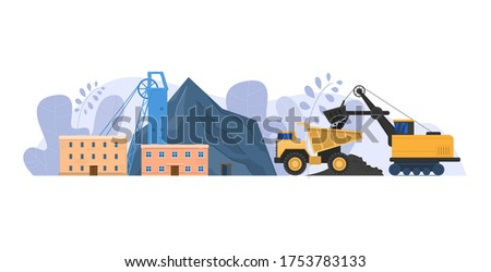 Mine industry vector illustration. Cartoon flat urban landscape with mining factory building for industrial process of coal extraction, machinery for transportation, mining business isolated on white background