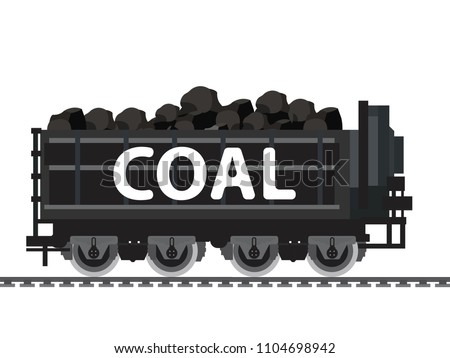 Miner cart coal wagon with pile of charcoal,coal