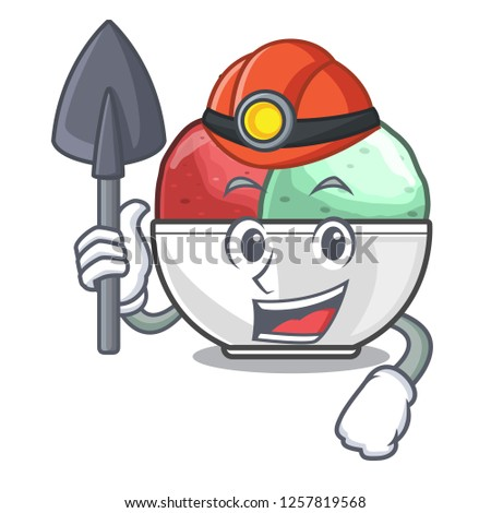 Miner scoops of sorbet in isolated mascot