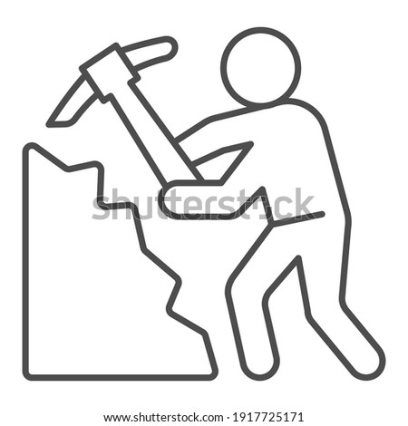 Miner with pickaxe thin line icon, labour day concept, Pile of coal and man with pickaxe sign on white background, Miner icon in outline style for mobile concept and web design. Vector graphics. Stock photo ©
