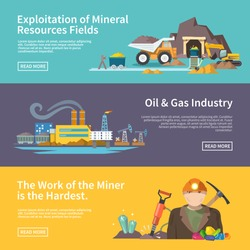 Miner work flat horizontal banner set with exploitation of mineral resources fields oil and gas industry elements isolated vector illustration
