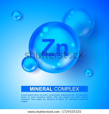 Mineral blue shining pill capsule icon. Zn Zink Vector. Mineral Blue Pill Icon. Vitamin Capsule Pill Zn Zink Icon. Substance For Beauty, Cosmetic, Heath Promo Ads Design. 3D Mineral Complex Zn Zink