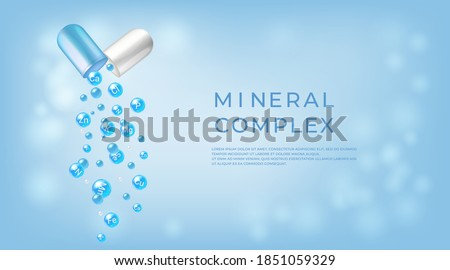 Mineral complex. Pharmaceutical banner template Capsule with falling out minerals balls.