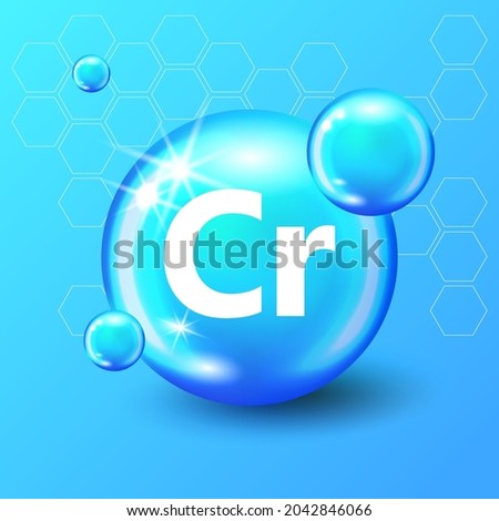 Mineral Cr Chromium blue shining pill capsule icon. Cr Chromium Vector. Mineral Blue Pill Icon. Vitamin Capsule Pill Icon. Substance For Beauty, Cosmetic, Heath Promo Ads Design. 3D Mineral Complex Photo stock ©