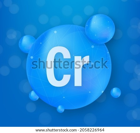 Mineral Cr Chromium blue shining pill capsule icon. Substance For Beauty. Chromium Mineral Complex. Photo stock ©