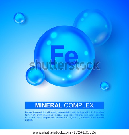 Mineral Fe Ferum blue shining pill capsule icon. Mineral Fe Ferum symbol. Mineral Vitamin complex with Chemical formula. Shining cyan substance drop. Meds for heath ads. Mineral Fe Ferum sign