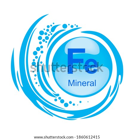 Mineral Fe Ferum. Mineral Blue Pill Icon. Meds for heath ads. Vitamin Capsule Pill Icon. Substance For Beauty, Cosmetic, Heath Promo Ads Design. 3D Mineral Complex With Chemical Formula Vector