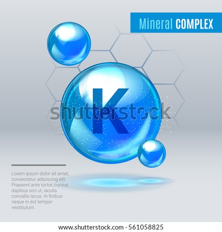 Mineral K Kalium blue shining pill capcule icon . Mineral Vitamin complex with Chemical formula . Shining cyan substance drop. Meds for heath ads. Vector illustration Stock fotó ©