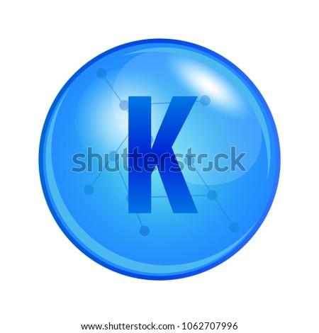 Mineral Kalium or Potassium capsule. Vector icon for health. Blue shining vitamin pill. Stock fotó ©