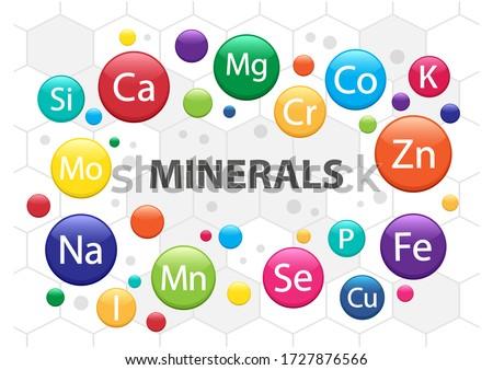 Mineral supplement set. 3d multivitamin complex for health. Vitamin icons. Calcium Magnesium Zinc Iron Iodine Manganese Cobalt Copper Potassium Molybdenite Chromium Silicon Selenium. Vector