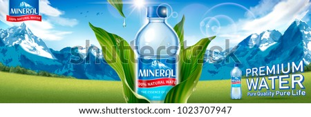 Mineral water bottle with green leaves isolated on spectacular snow mountain and field background in 3d illustration