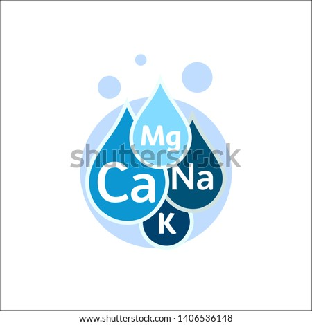 Mineral water icon. Blue drops with mineral designations. Simple flat logo template. Healthy water modern emblem idea. Isolated vector simple sign on white background.