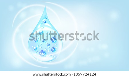 Mineral water template. Blue drops with mineral molecules.  Healthy water modern tag. Stock photo ©