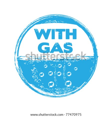 mineral water with gas stamp - stock vector