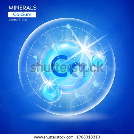 Minerals Calcium for health. Pharmaceutical banner template Capsule with minerals blue. Scientific research medical and dietary supplement health care concept. 3D Vector EPS10 Stock photo ©