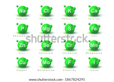 Minerals. Macrominerals and microminerals set, collection. Na, Cl, K, Ca, P, Mg, S, Fe, Zn, Se, Cr, Mn, Cu, Mo, F, I. Nutrition illustration. Dietary elements. Minerals for life. Medical background