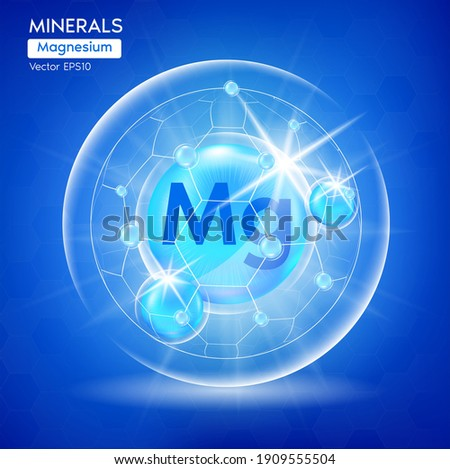 Minerals Magnesium for health. Pharmaceutical banner template Capsule with minerals blue. Scientific research medical and dietary supplement health care concept. 3D Vector EPS10
