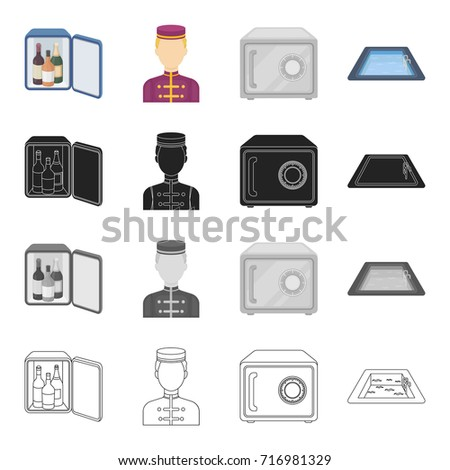Mini-bar, hotel staff, safe in the room, swimming pool. Hotel set collection icons in cartoon black monochrome outline style vector symbol stock illustration web.